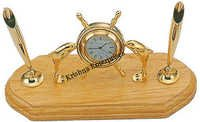 Brass Fish & Rose Wood With Clock Pen Holder