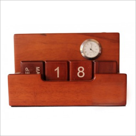 Wooden Clock Pen Stand