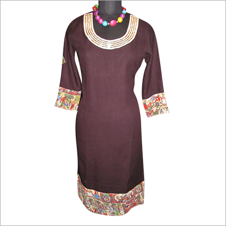 Embroidered Neck Woolen Kurtis