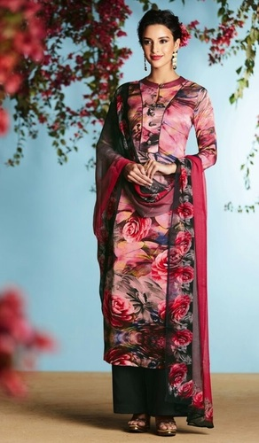 Pink Georgette Straight Style Suit
