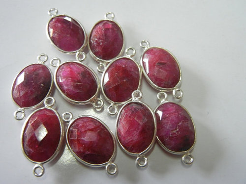 A lot of 25 piece of Sterling Silver Ruby Gemstone Connectors