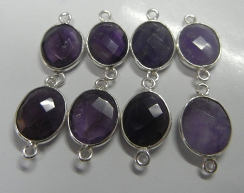 30 Piece of Amethyst Bezel Gemstone Connectors