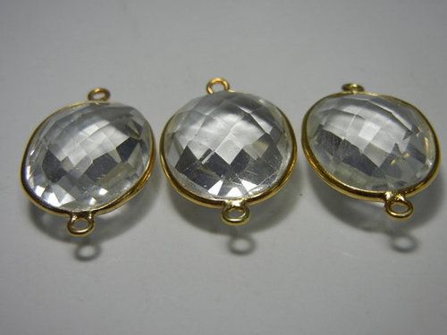 A lot of 30 Piece of Crystal Quartz Gold Plated Sterling Silver Gemstone Connectors