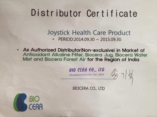 Certificates of Biocera Distributorship