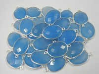 A Lot of 30 Piece Silver Bezel BLUE CHALCEDONY Gemstone Connectors with 2 loops