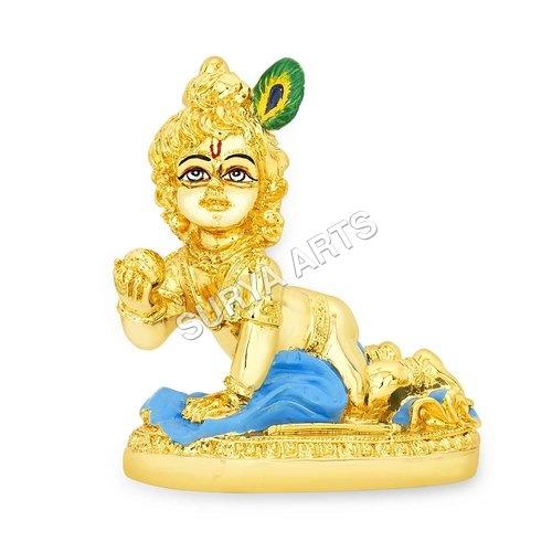 Gold Plated Krishna Statue