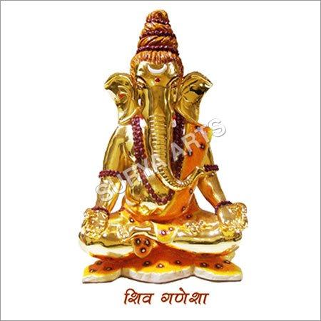 Shiv Ganesh Gold Plated Statue