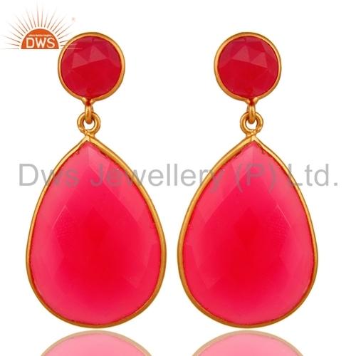 Pink Chalcedony Sterling Silver Earrings