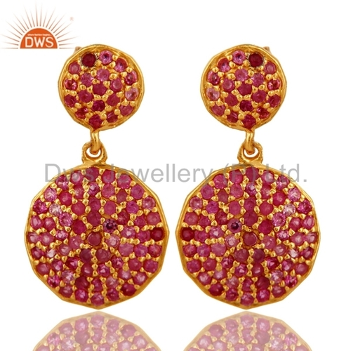 Gold Plated Silver Ruby Earrings