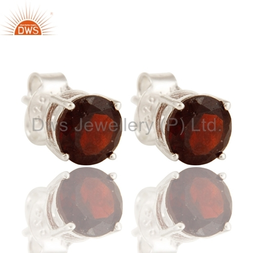 Garnet Gemstone 925 Silver Stud Earrings