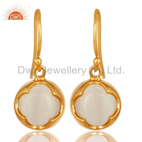 White Moonstone Gold Plated Earrings