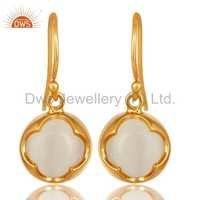 White Moonstone Gold Plated Earrings