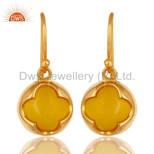 Yellow Moonstone Designer Earrings