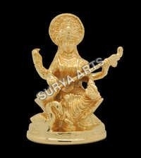 24 k Gold Plated Saraswati Idol