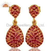 Gold Plated Sterling Silver Ruby Earrings