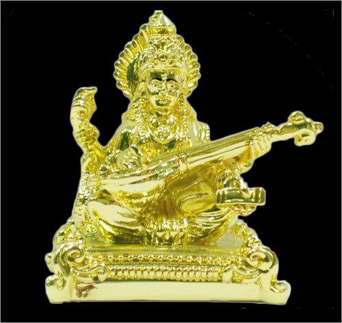 Gold Plated Saraswati Statue