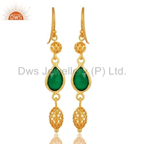 Green Onyx Sterling Silver Plated 5 grams Stud// Earring 12 mm Handmade Art Jewelry Ethnic Wear