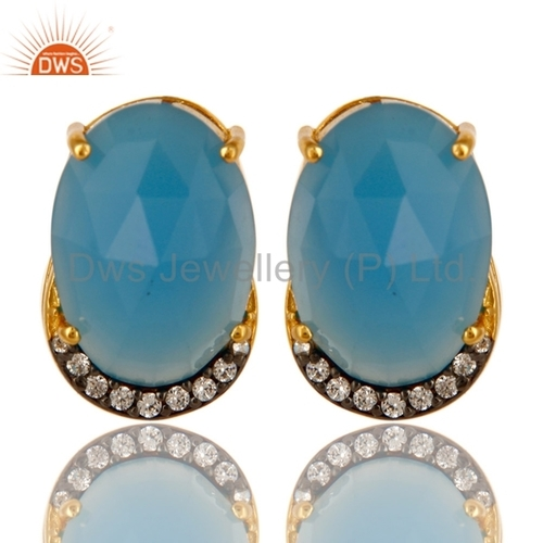 Blue Chalcedony & CZ Silver Earrings Jewelry