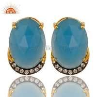 Blue Chalcedony & CZ Silver Earrings Jewelry