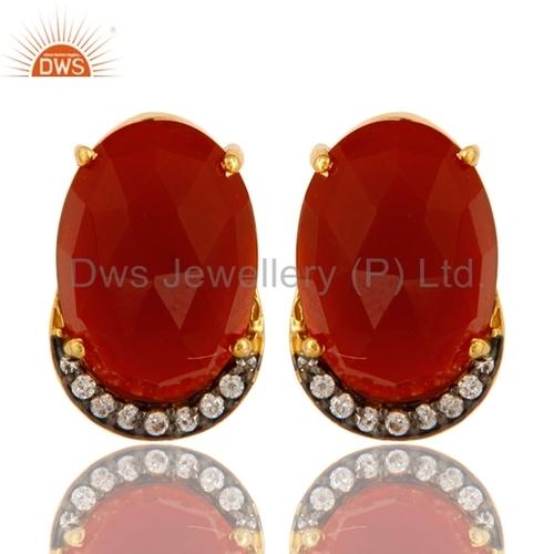Red Onyx 925 Silver Stud Earrings Jewelry