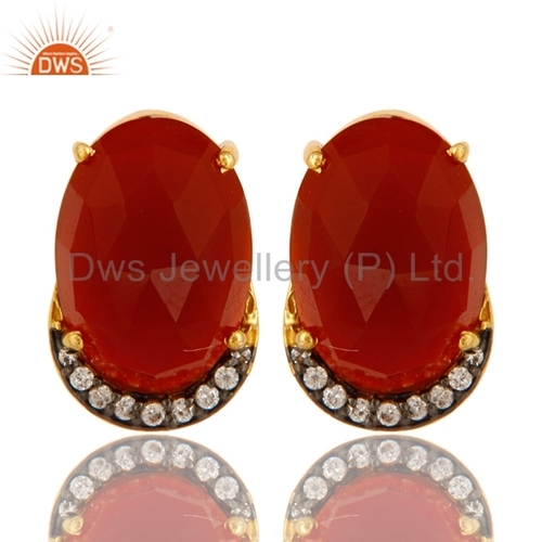 CZ Natural Red Onyx Gemstone Stud Earrings Jewelry