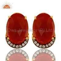 CZ Natural Red Onyx Gemstone Stud Earrings Jewelry