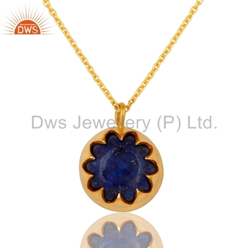 Gold Plated Silver Lapis Lazuli Pendant