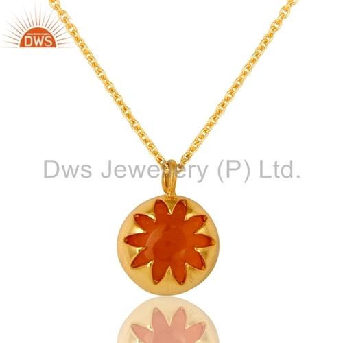 Designer Gold Plated Silver Peach Moonstone Gemstone Pendant