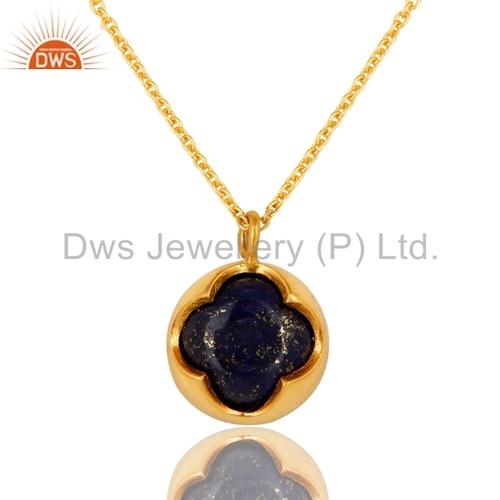 Clover Gold Plated Lapis Gemstone Pendant