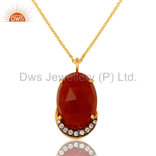 Sterling Silver CZ & Red Onyx Pendant
