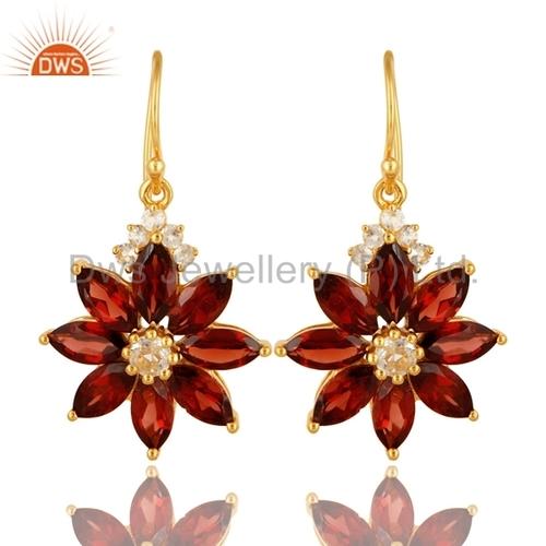 Garnet Gemstone Flower Earrings Jewelry
