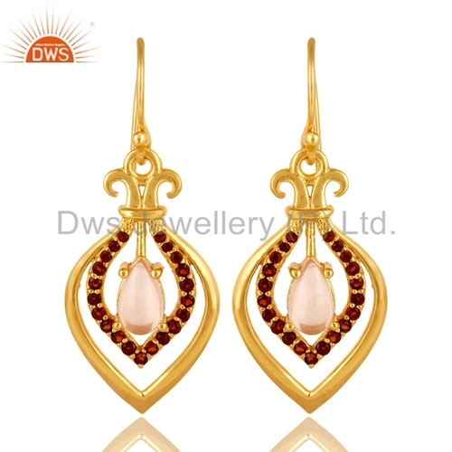 Designer Multi Gemstone Gold Earrings