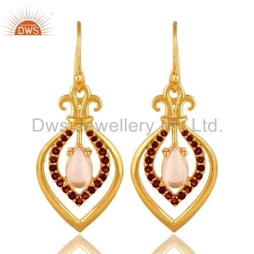 Rose Quartz Garnet Gemstone Designer Earrings