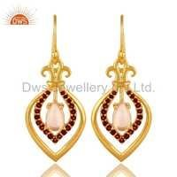 Rose Quartz Garnet Gemstone Designer Earrings