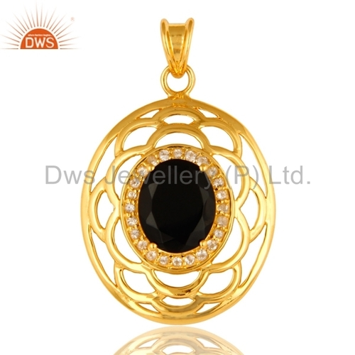 Gold Plated 925 Silver Black Onyx Pendant