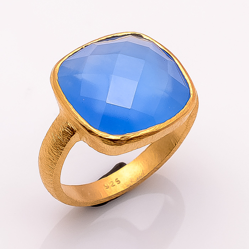 blue Chelcedony gemstone Ring  Vermeil Gold- 2 micron