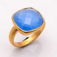 blue Chelcedony gemstone Ring  Vermeil Gold- 2 micron