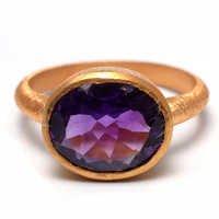Amethyst Gemstone Ring-  Vermeil Gold