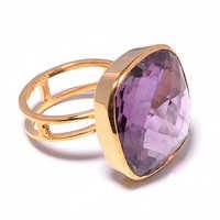Amethyst Gemstone Ring-  Vermeil Gold