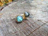 Labradorite Gemstone Ring-  Vermeil Gold