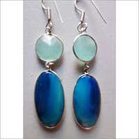 50.25CTS ONE PAIR BLUE CHALCEDONY & AQUA CHALCEDONY SILVER PLATED READY TO WEAR EARRINGS#AG3309