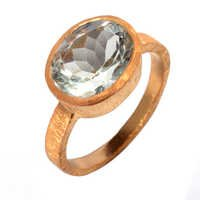 Green amethyst Gemstone Ring- vermeil Gold