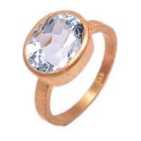 blue topaz Gemstone ring- vermeil Gold