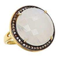 Aqua Chalcedony & Cz Gemstone Ring-  Vermeil Gold