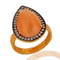 Aqua Chalcedony (cubic zirconiya) Gemstone Ring-  Vermeil Gold