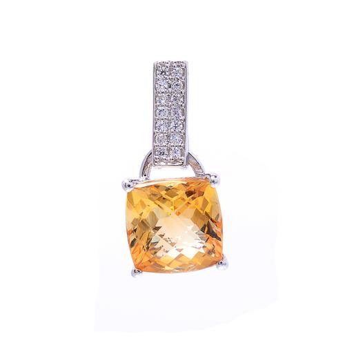 925 Sterling Silver Golden Topaz Pendant