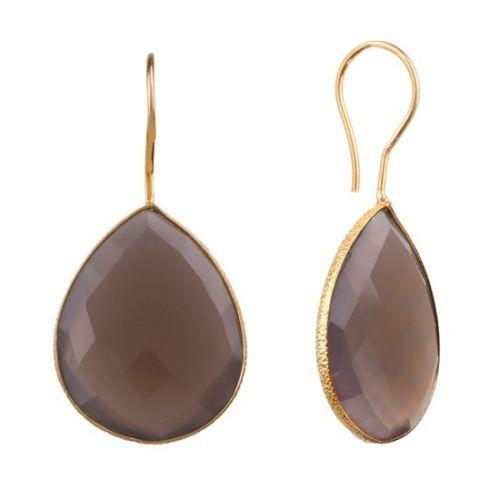 Smoky Topaz Gemstone earring- vermeil Gold
