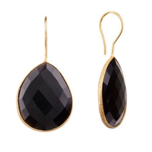 Black Onyx Gemstone Earring-  Vermeil Gold