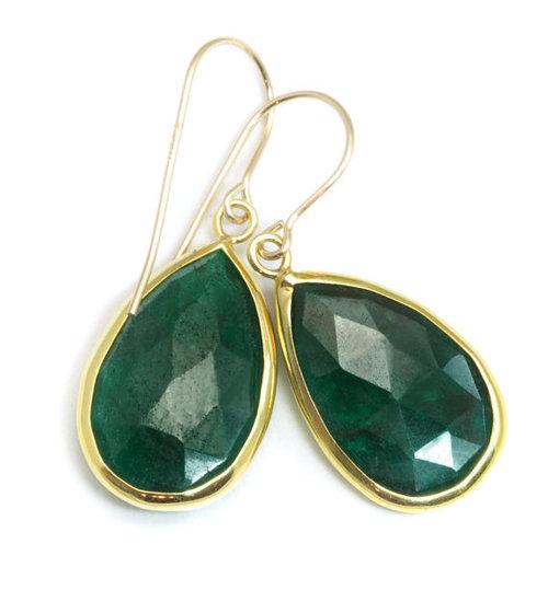 Dyed Emerald Gemstone earring-  Vermeil Gold