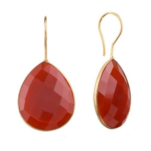Red Onyx Gemstone Earring-  Vermeil Gold